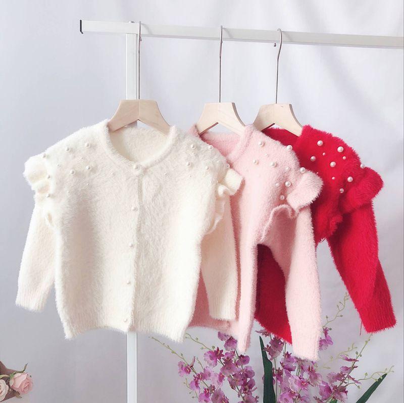 b96a2c4e9347 2018 New Girl Baby Fashion Fur Beaded Sweater Cardigan Girls Kids ...