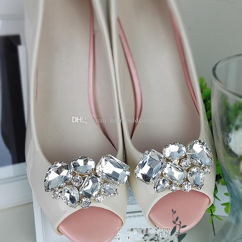 scarpe fiore fascini nuziale tacchi alti accessori scarpe cristallo diamante scarpa clip zoccoli Moda decorazione di nozze fibbia scarpe clip