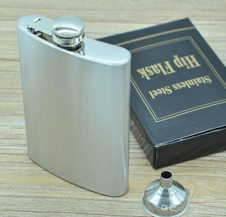 BOOM Moda 8oz Bolso de Aço Inoxidável Flask Retro Whishkey Flask Botão de Parafuso de Liquor inclui funil de bônus grátis e caixa de presente preta