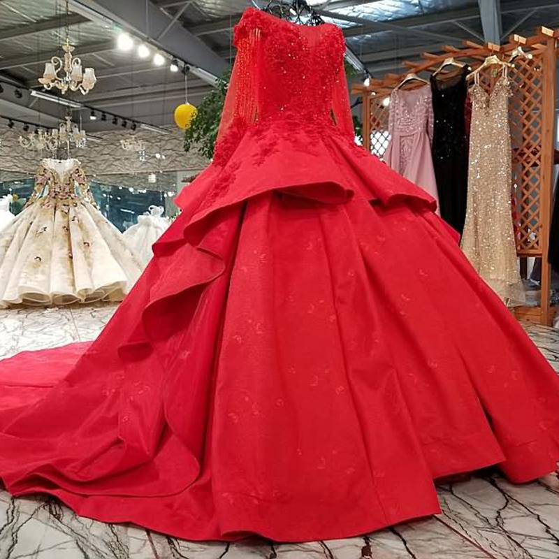56c6bd8b35ca4 2019 Saudi Arabia Evening Dresses Red Color Long Sleeves Boat Neck Lace Up  Back Puffy Skirt Engagement Dresses Vestidos De Fiesta Largos Long Sleeve  Evening ...