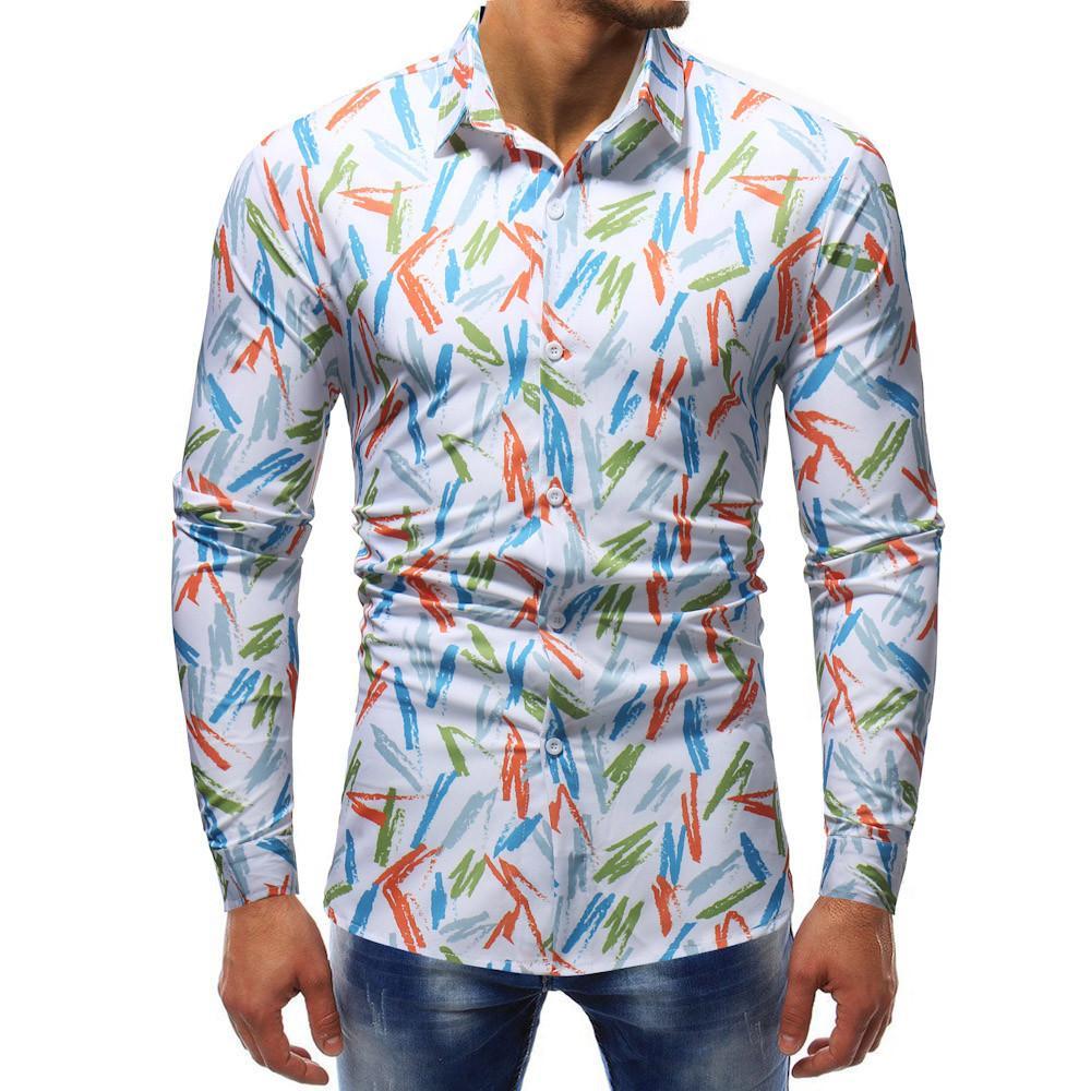 Compre Camisas De Homem Manga Longa Camisa Havaiana Slim Impressão De Verão  Casual Flor Camisa Dos Homens Camiseta De Hombre De Bairi b6eddc18907