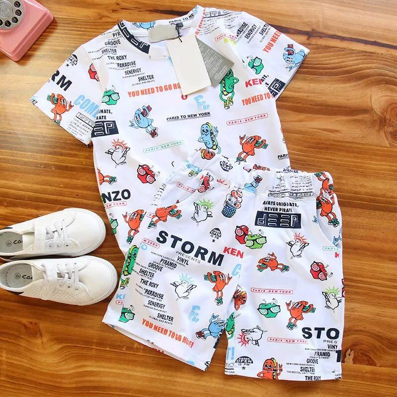 0e60adeb10ac34 2 PCS/Set New Cartoon Children Sport Clothing Set White T-shirt Tops+Shorts  Kid Clothes for Boys Girls Summer Ice Cream Outfits