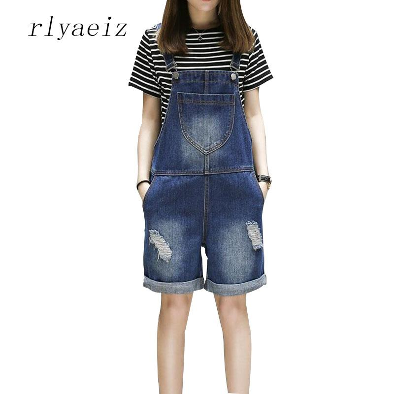 6aee39a3ee Rlyaeiz Plus Size 5XL Rompers Womens Jumpsuit 2018 Summer Casual Feminino  Suspender Hole Jeans Women Loose Playsuits Overalls