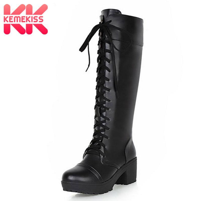 f7a1f5e683135 Compre KemeKiss Talla Grande 33 48 Plataforma Mujer Zapatos Negros Mujer  Cordones Plaza Tacones Altos Barcos Rodilla Botas Altas Calientes Añadir  Piel ...