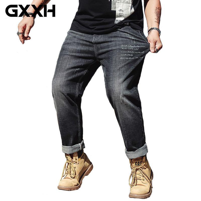 2cfceaa5e9e 2019 GXXH Mens 2018 New Plus Size 30 46 Black Stretch Loose Fit Jeans Denim  Mens Larger Big Man Pants 42 44 46 Oversized 4XL 5XL 6XL From Honey333