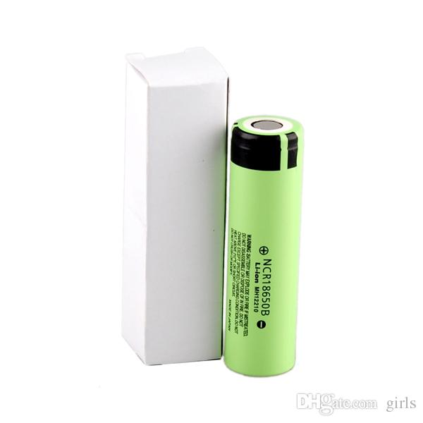 original Authentic Panasonic NCR18650B 3400mah battery Lithium Battery Flat Top fit any electronic cigarette mods lithium by epacket lithium