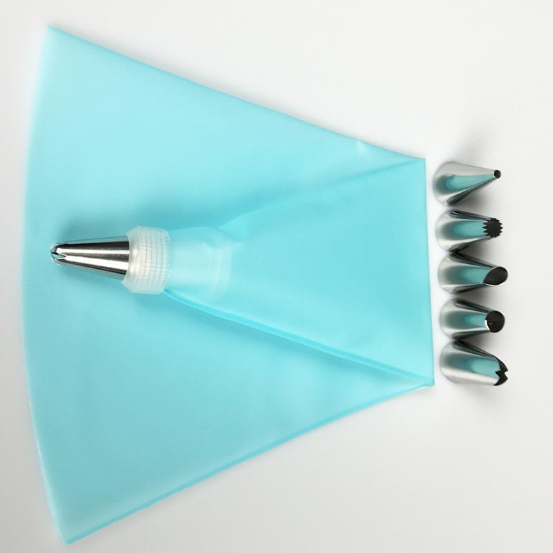/ Set Accessori da cucina in silicone Glassa Piping Cream Pastry Bag + ugello in acciaio inox Forniture torte fai da te