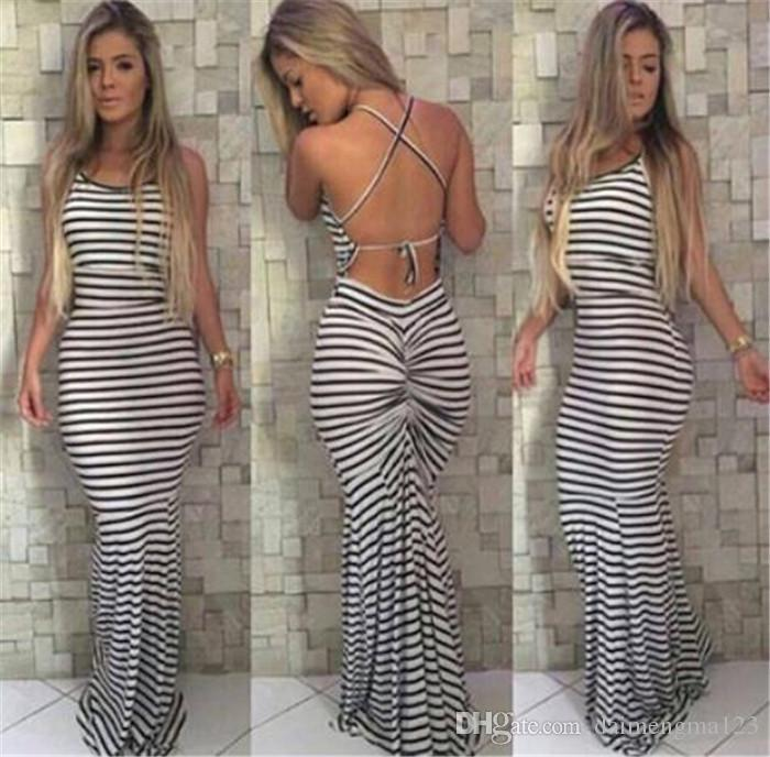 1df7a3b9919 Black And White Stripes Elastic Tight Condole Sexy Backless Dress Womens  Summer Celeb Boho Long Maxi Dress M210 Long Sundresses For Women Clothes  For Black ...