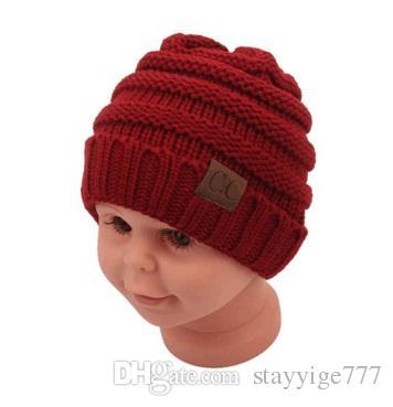 2018 mode kinder winter warm halten cc beanie Beschriftungshüte Wolle stricken Schädel Designer Hut Outdoor Sport Caps für Baby Kinder Kind