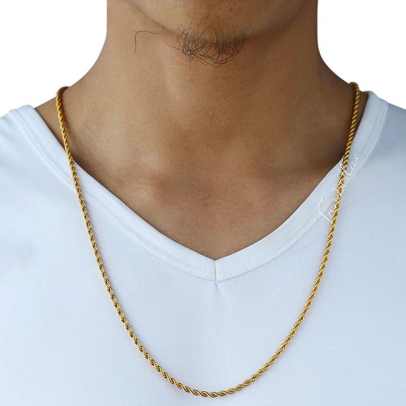 24 K Real Ouro Sólido Colar Recheado Para Homens Pesados 3/7 MM Encantador Hip Hop Corda Jóias Longa / Gargantilha Atacado Cubano Elo Da Cadeia Frete Grátis