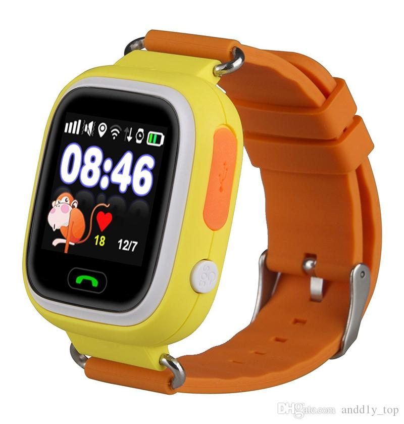 Q90 Bluetooth GPS Tracking Smartwatch pantalla táctil con WiFi LBS para iPhone IOS Android SOS Call Anti Lost SmartPhone Dispositivo portátil en caja