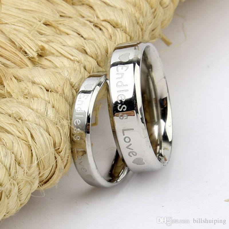 c0f4109df0 Wholesale ENDLESS LOVE Band Rings For Men Women Heart Stainless Steel Lovers  Finger Ring For Couple Wedding Party Wear Promise Rings Rings From  Billshuiping ...