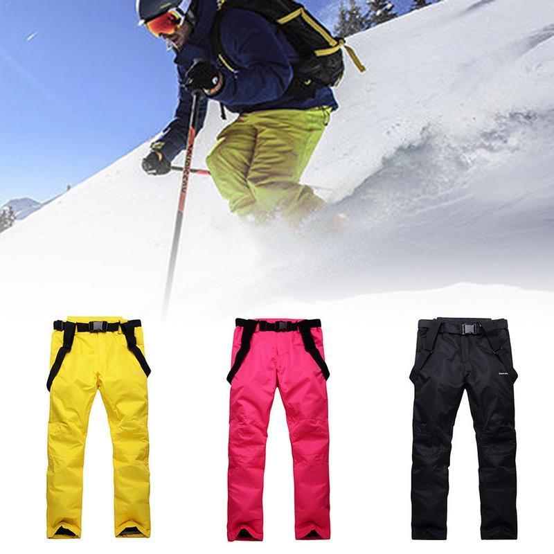349eec3627e2e Compre Pantalones De Esquí Hombres Y Las Mujeres De Los Pares Individuales  Impermeables Pantalones Calientes Acolchado De Esquí Junta Doble A Prueba  De ...