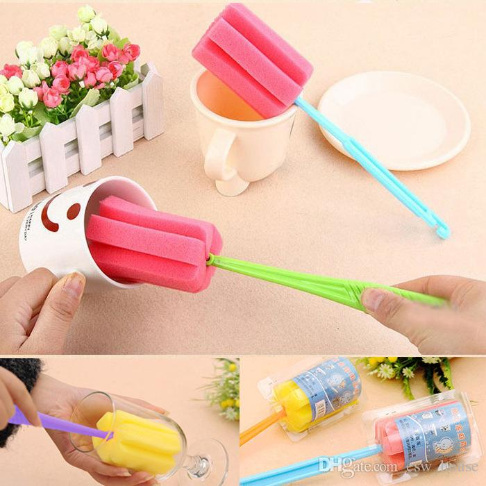 Useful Sponge Brush Long Handle Bottle Cup Glass Washing Brush Kitchen Cleaner Cleaning Tools Household Brush