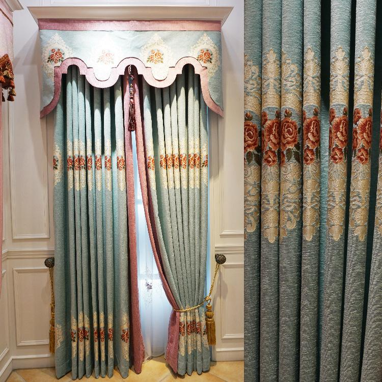 Curtains European chenille embossed jacquard curtain fabric wholesale and  also custom for home iving room bedroom curtain finished