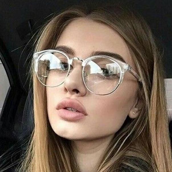 d008db9ec52 2019 Fashion Cat Eye Clear Glasses With Clear Lens Metal Half Frame Optical  Eye Glasses Frames Women Spectacles Men Eyewear Oculos From Zaonoodle
