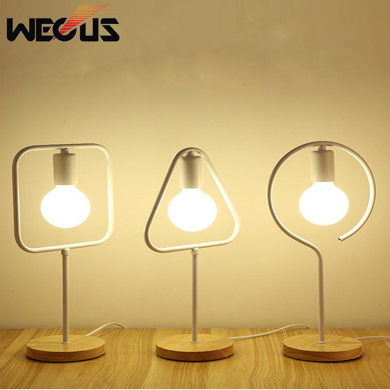 Modern Personality Art Deco Table Lamps For Bedroom Wood Switch Base Living Room Bedside Lamp Creative Lights Led Lamps
