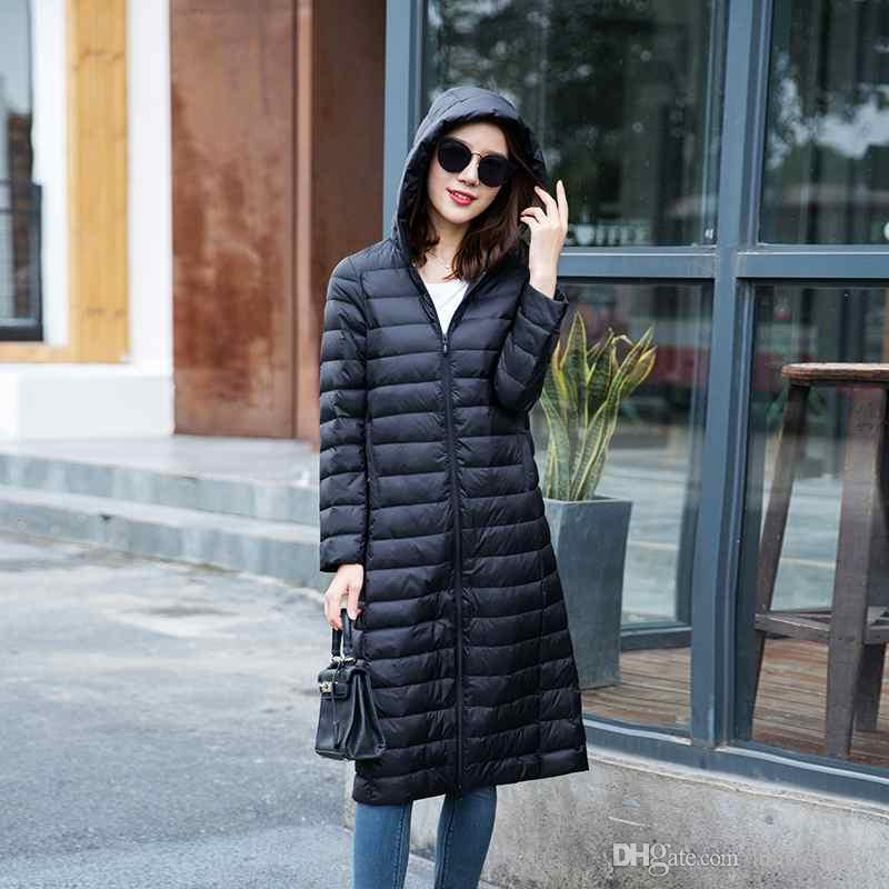 893d106be2ac Woman s Ultra Light Down Jackets Slim Hooded Knee Length 90% White ...