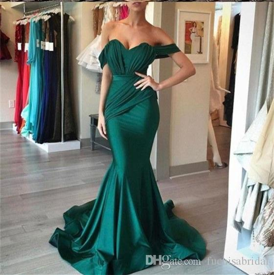 Off The Shoulder Emerald Green Gold Prom Dress With Pleated Bodice