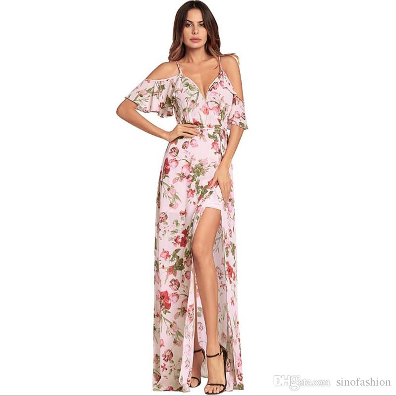 Sommer Lange Kleider V Maxi Lässige Großhandel Frauen