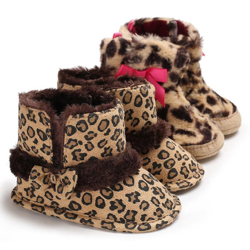 86e5a60b1725 Infant Toddler Newborn Baby Girls Leopard Boots Bowknot Crib Shoes Soft  Sole Shoes Winter Warm Cotton Boot For Baby Girl 0 18M Shoe Boots For Girls  Girls ...