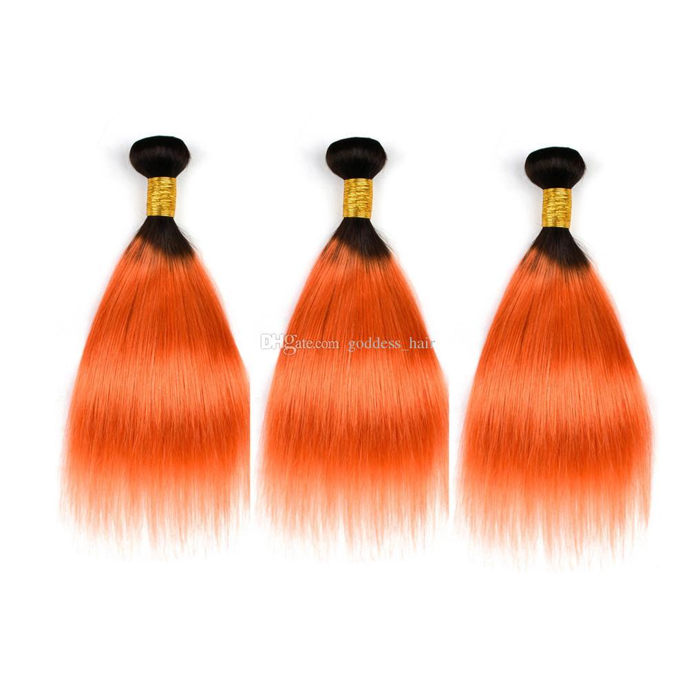 Nuevo producto Extensiones de cabello naranja 1B con cierre de encaje Color de Ombre El cabello humano recto teje 1B 350 con cierre de encaje