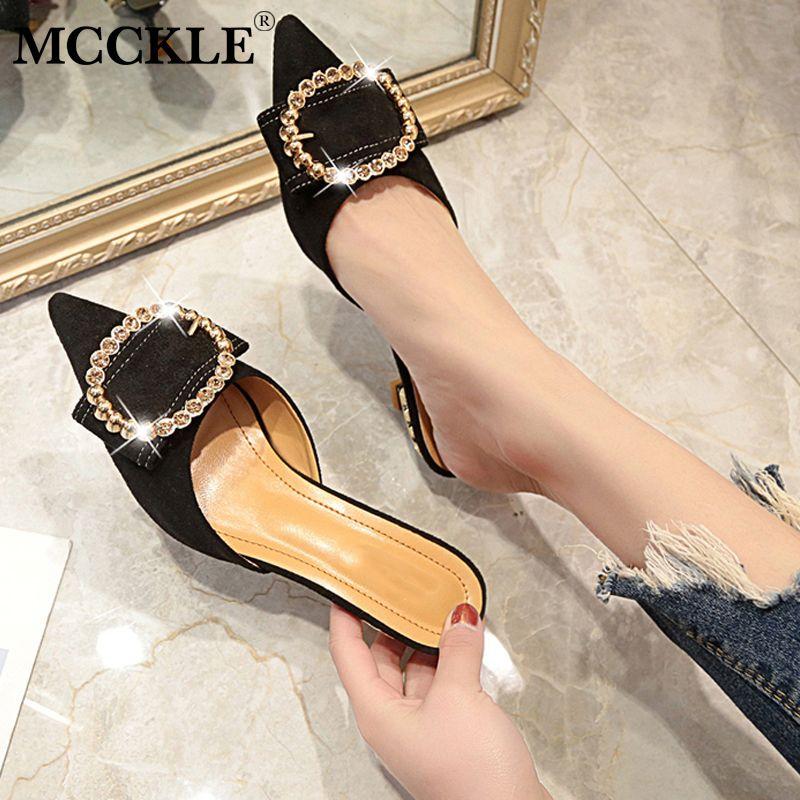 93f980f9c5 Compre MCCKLE Mulheres Verão Saltos Altos Mulas Chinelos Senhoras Dedo  Apontado Estilo Estranho Sapatos De Cristal Fora De Moda Mulher Calçado De  Bking