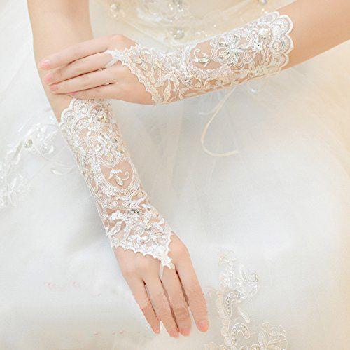 outlet store 647c6 38bc1 Guanti da sposa in pizzo senza dita con guanti di sera in rilievo di  cristallo per le donne Accessori da sposa con paillettes di strass