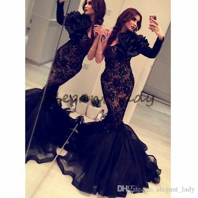 Arabic India 2018 Formal Mermaid Evening Dresses Long Sleeves Black Lace Organza Occasion Gowns Crystals Backless Cheap Prom Dress Sexy