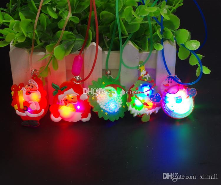 led christmas necklace glow shine santa claus necklace flashing necklaces luminous christmas toys gift led lighted toys ornament light necklace dove - Lighted Christmas Necklace