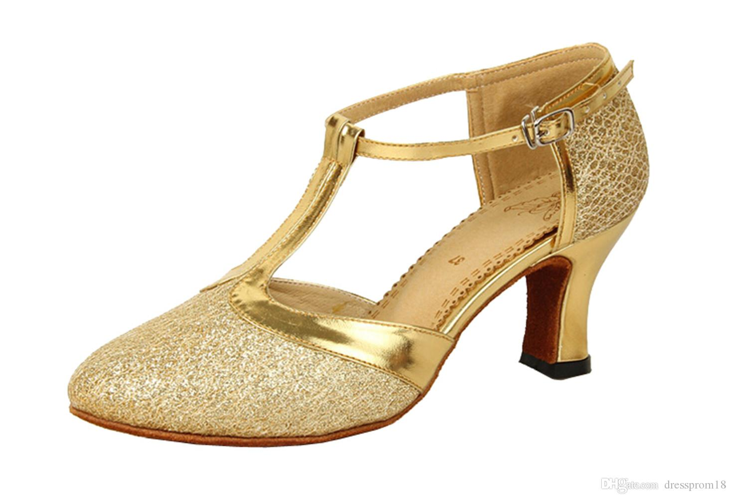 ae42960ccb4f 2019 Womens Fish Scales Glitter T Strap Latin Ballroom Dance Shoes Sparkly  Closed Toe Ankle Strap Practice Dancing Heels From Dressprom18
