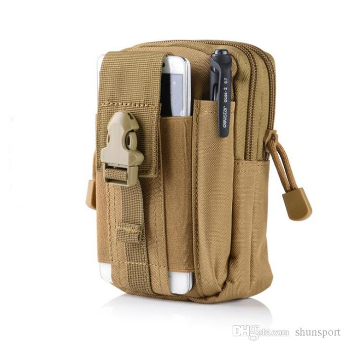 Tactical Molle Utility Pouch Gadget Belt Waist Bag with Cell Phone Leather Case Outdoor Sports Organizer Bag DHL