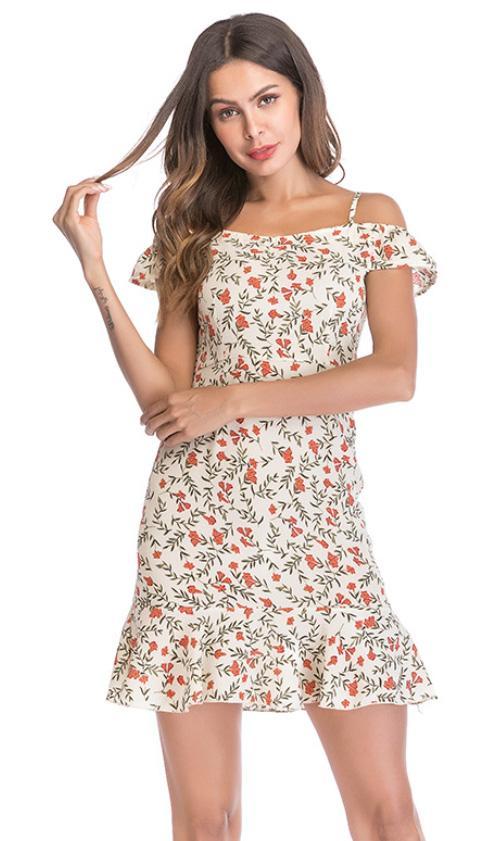 80838e91b08b4 2018 Hot Selling Women Summer Chiffon Braces Dress Female Newest Slash Neck  Ruffle Ladies Floral Print Dress Womens Sundresses On Sale Party And  Evening ...