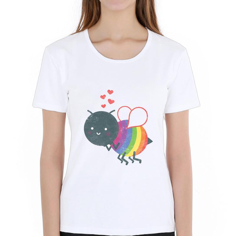 541d4b7f8a Compre Camiseta De Las Mujeres Moda Bumble Rainbow Bee Diseño Mujeres  Camiseta De Manga Corta Camisetas Básicas Novedad Dibujos Animados Creativo  Bee ...