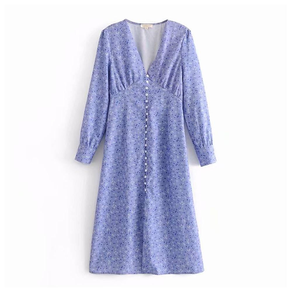 e38db669bfe Purple Sweet Floral Swing Vintage Dresses Women 2018 Buttons High Waist Long  Sleeve Female Slim Travel Chic V Neck Autumn Dress Floral Maxi Lace Dress  ...