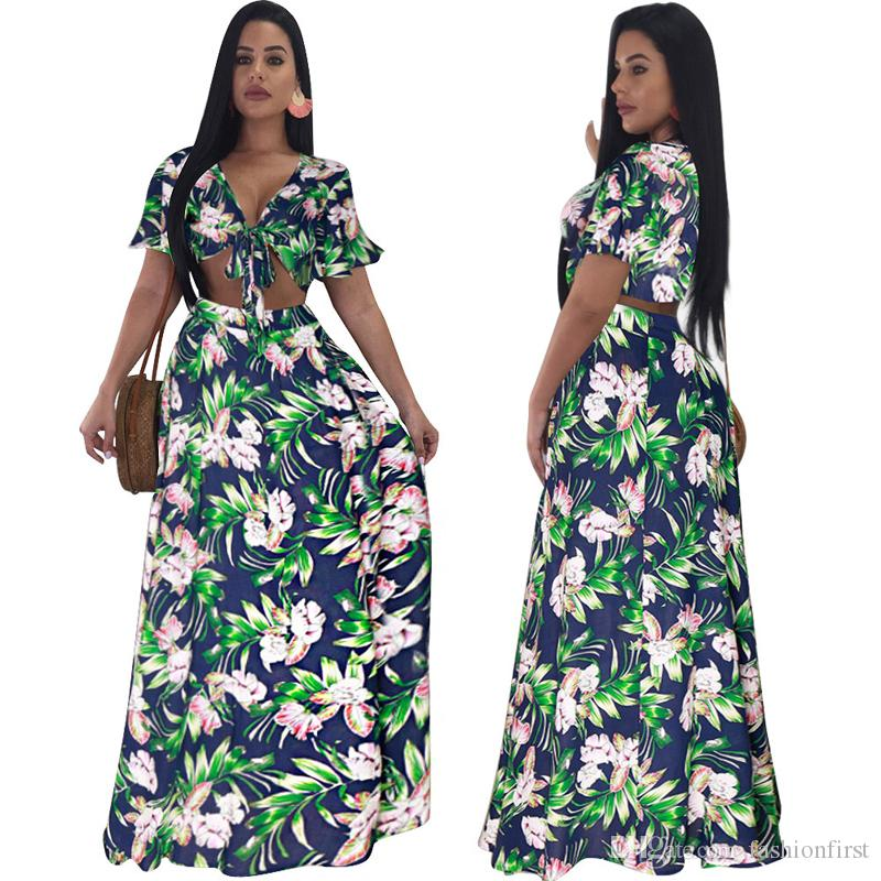 be8f37f5aa82 Print Two Piece Dress Crop Top And Skirt Set Women Suit Boho Two ...