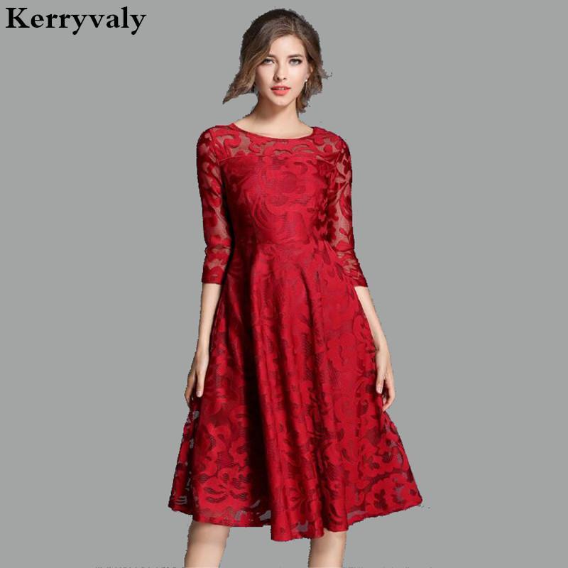 a7f68b0ac7f Acheter Robe Vintage Midi Rouge Robe En Dentelle Femme Robe 2018 Printemps  Été Plus La Taille Des Robes Pour Femmes 4xl 5xl Vestidos Largos Mujer  K8079 De ...