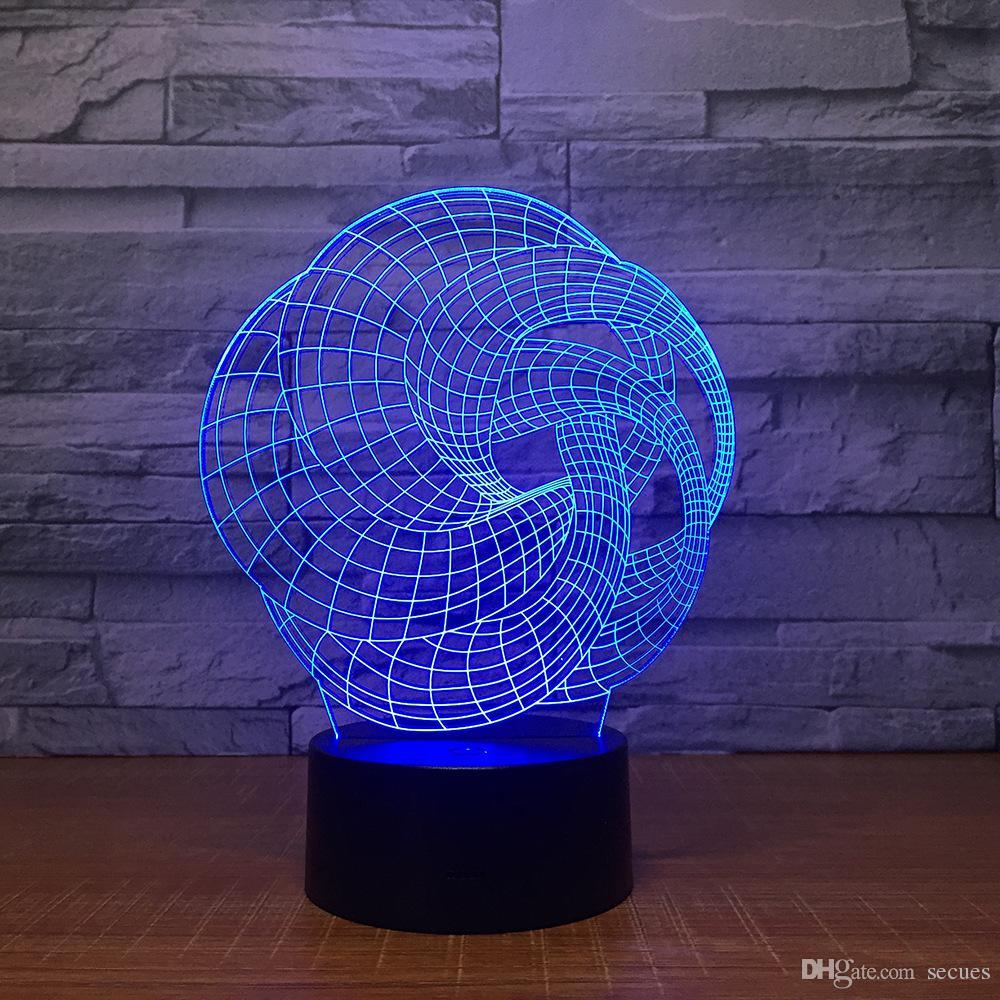 3D Illusion Ball Art Night Lamp 3D Optical Lamp AA Battery USB Powered 7 RGB Light DC 5V Wholesale
