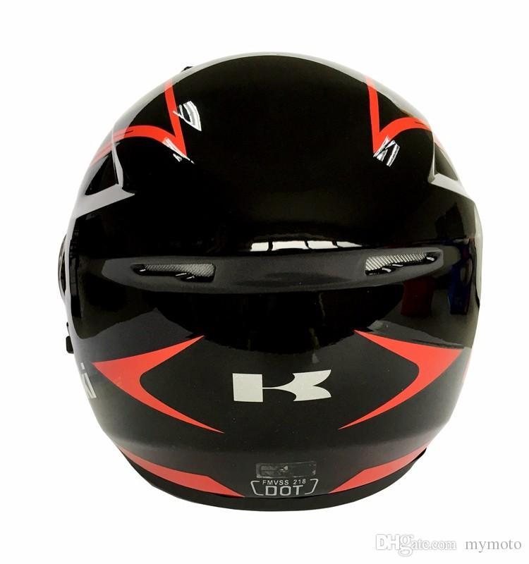 Kawasaki flip up helmet double lens motorcycle helmet men's racing helmet motocicleta capacete moto cascos DOT approved red