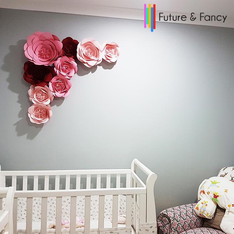 9pcs Giant Paper Flowers Showcase Wedding Backdrops Props Baby Room Decor Flores Artificiais Para Decora O Mix S M L