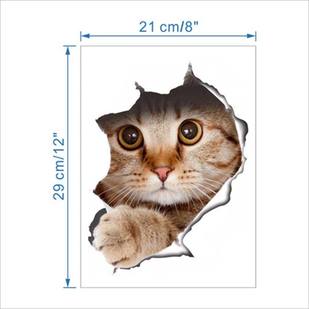 Hole View Vivid lovely Cats Dog 3D Wall Sticker Bathroom Toilet Living Room Kitchen Decoration Animal Vinyl Decals Art Sticker