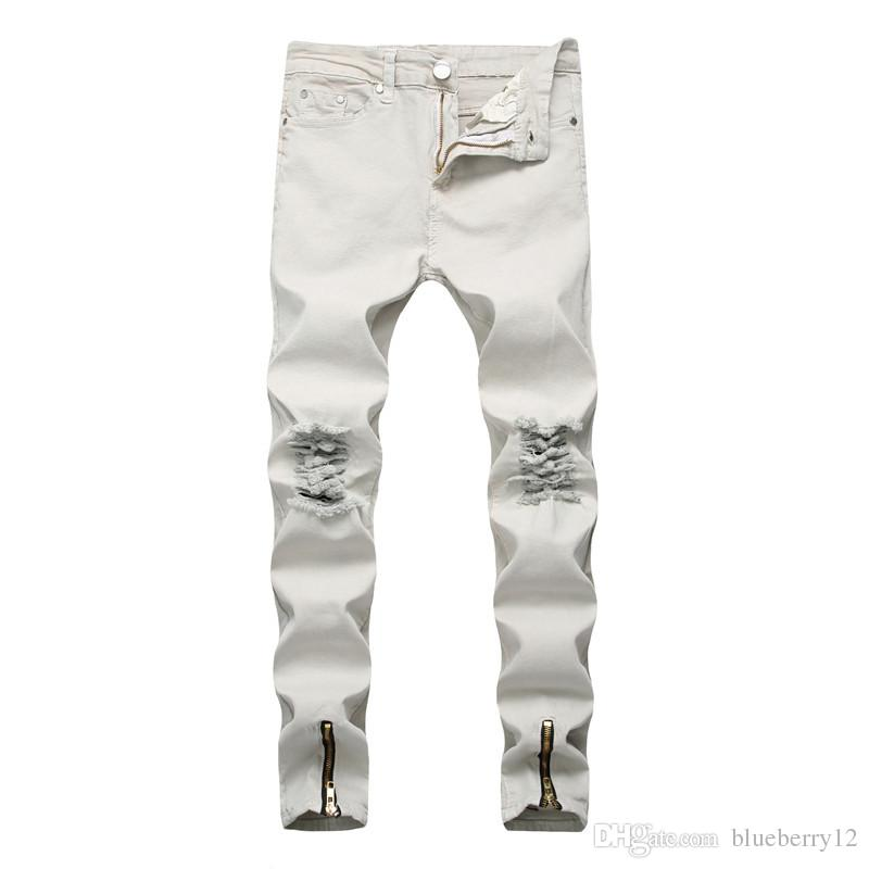 06c7b945 2019 Fashion White Jeans For Men High Street Style Broken Denim Pants Skinny  Pencil Jeans With Zipper Decorated Spilt Opening Designer Jeans From ...