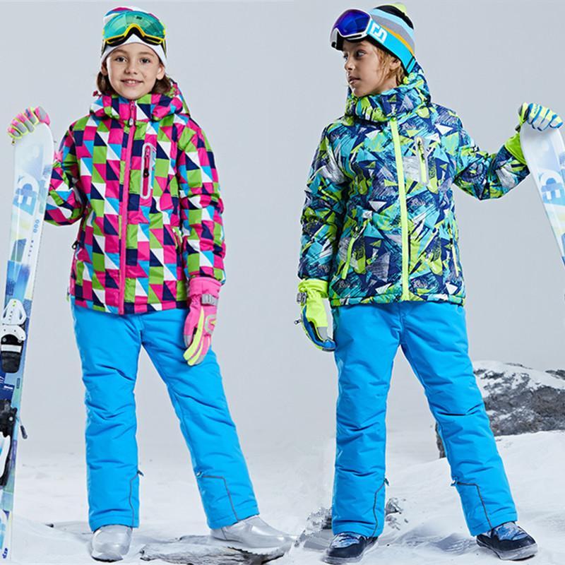 a1bf7291525d 2019 Boys Girls Snow Clothes Waterproof Windproof Kids Ski Suit Ski ...