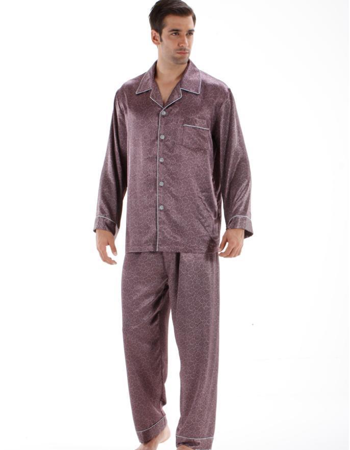 640d737b28 2019 Mens Quality Pajama Satin Silk Satin Pijamas Set Sleepwear Set Long  Full Sleeve Silk Pajamas For Men From Bunnier