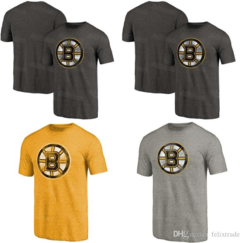 Mens Boston Bruins Gray Distressed Primary Logo Tri-Blend T-Shirt ... 6c598969a