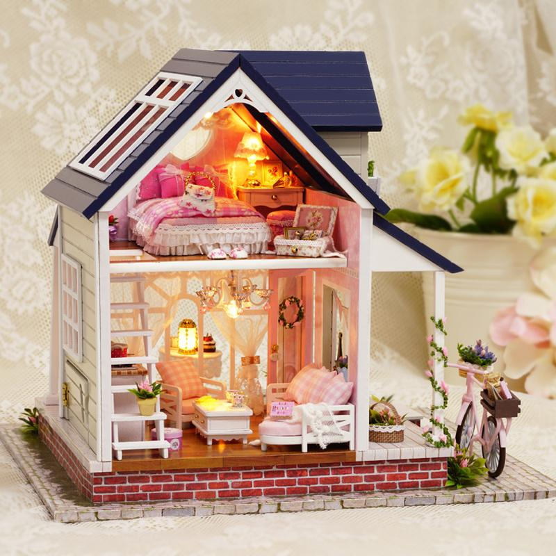 Cute Room Diy Doll House Miniature Dollhouse With Furnitures 3d