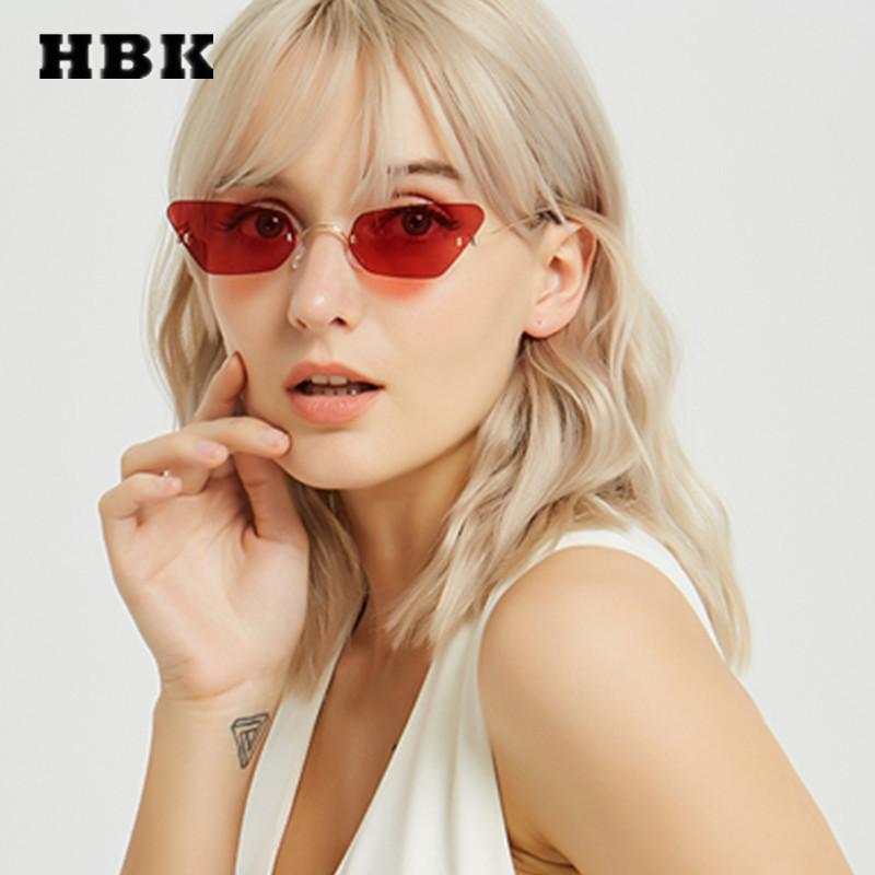 Compre HBK Unisex Cat Eye Óculos De Sol Oculos 2019 Nova Tendência De Luxo  Mulheres Marca Designer Óculos De Sol Sem Aro Pequeno Quadro De Metal Uv400  De ... 82ccc45e60