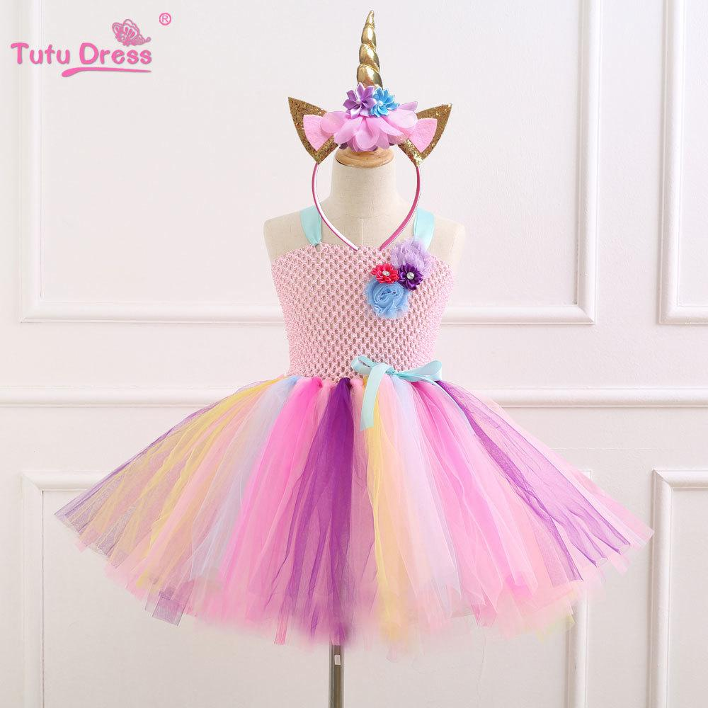 2019 Elegant Colorful Flowers Birthday Party Dresses Children Kids Clothes  Baby Girls Dress Unicorn Costume Summer Girl Tutu Dress Y1892112 From  Shenping01, ...