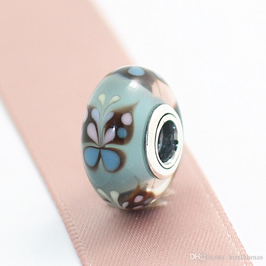 DIY Loose Beads Handmade Lampwork 925 Sterling Silver Blue Butterfly Murano Glass Charm Bead Fits European Pandora Jewelry Bracelets