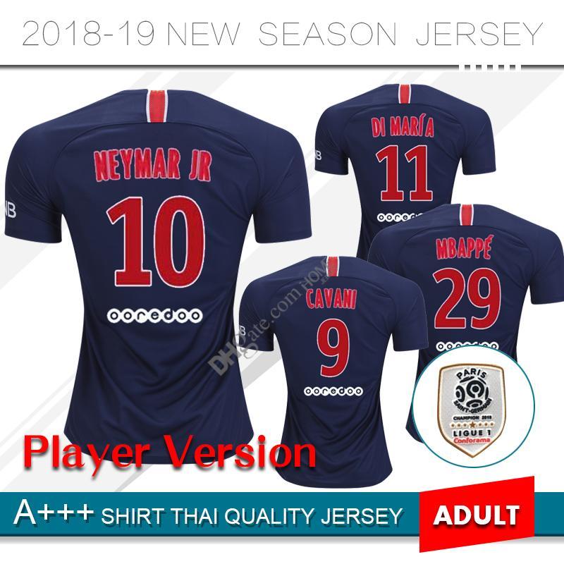 Compre 2019 Jogador Versão   10 NEYMAR JR Casa Camisa De Futebol 18 19   29  MBAPPE Camisa De Futebol   9 CAVANI 2018 Uniforme De Futebol Em Casa De ... 480b6f7c3a5c1